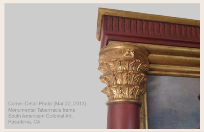Fine Art Archival Framing : Monumental Tabernacle frame detail South American Colonial Art : VANDEUREN