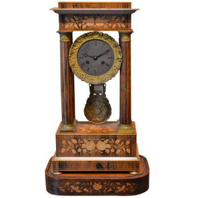french antique clock with marquetry Inlay | VANDEUREN, Los Angeles CA