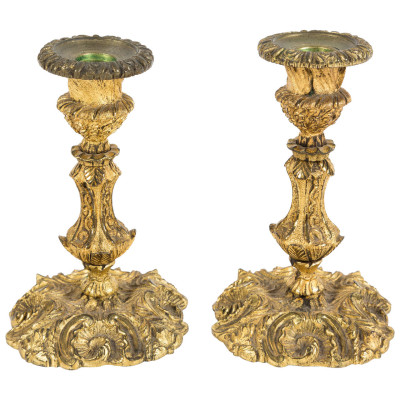 Antique Candle Holders, Gilded Bronze Candle Holders | VANDEUREN