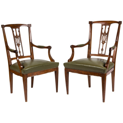 antique leather chairs, antique library chairs, leather library chairs | VANDEUREN