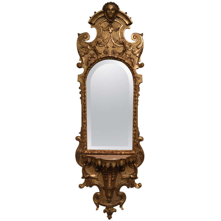 Gilded Antique Italian Mirror with Console | VANDEUREN, Los Angeles CA