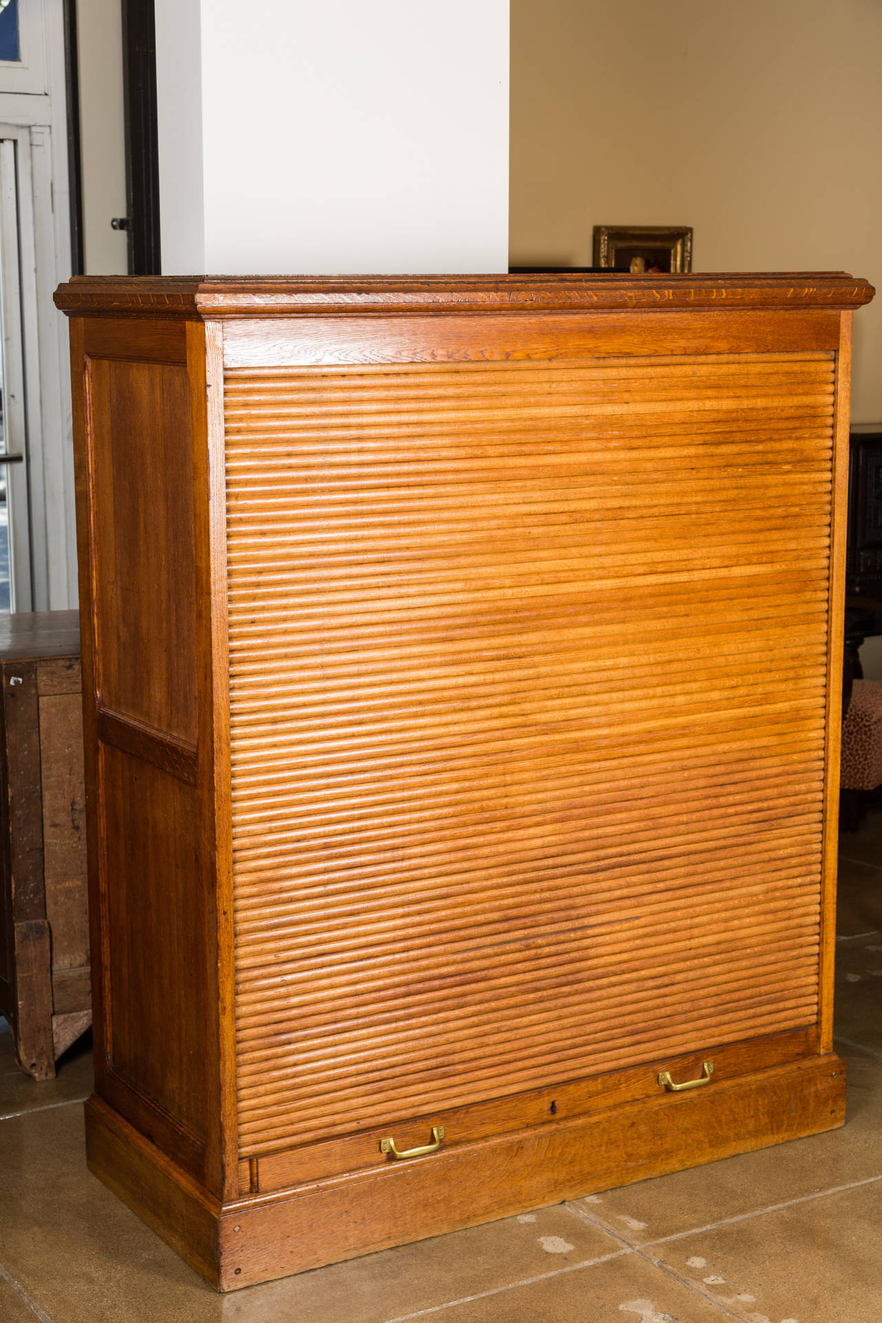 Antique File Cabinet, Roll-up Cabinet in Oak | Vandeuren, Los Angeles CA