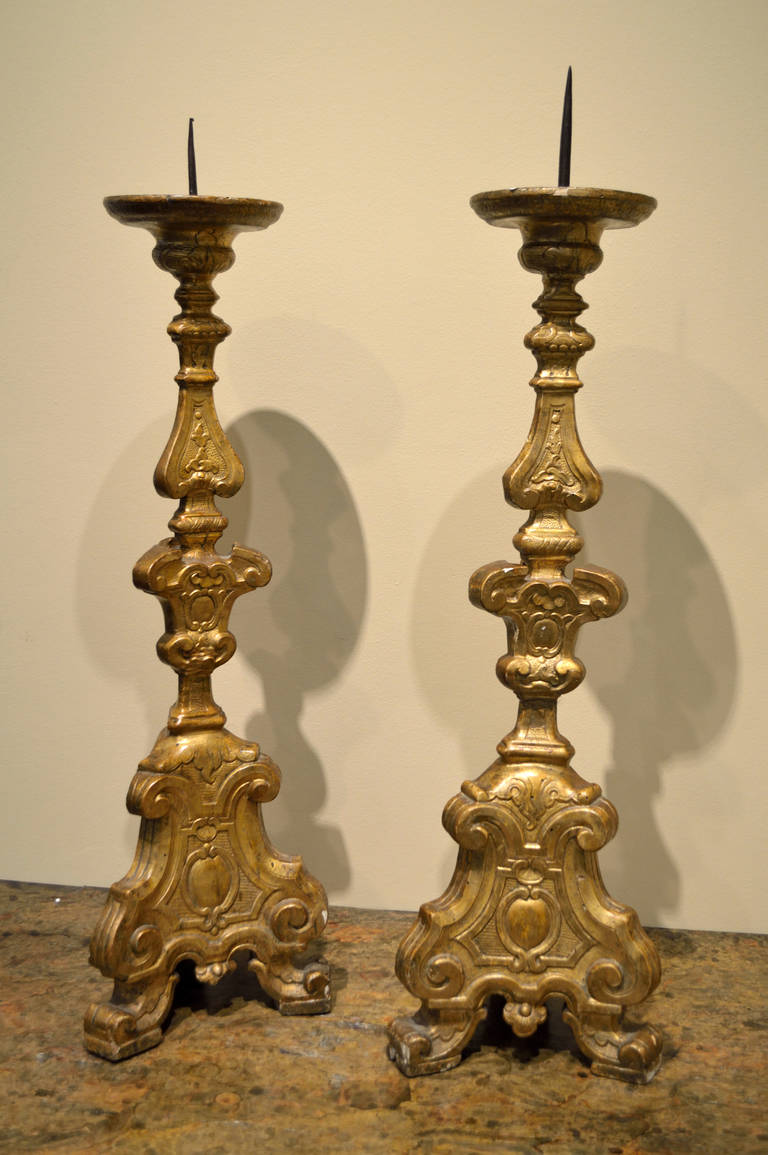 Louis XIV Antique Gilded Candle Holders | VANDEUREN, Los Angeles CA